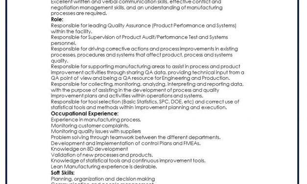 VACANTE SR. QUALITY ENGINEER
