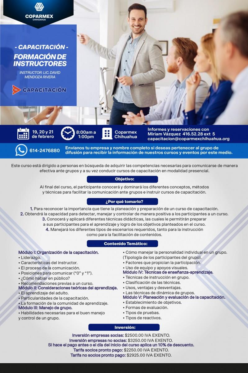 CAPACITACIÓN FORMACIÓN de instructores Centro Empresarial Cuauhtémoc #1800 Col. Centro del 19 al 21 de febrero