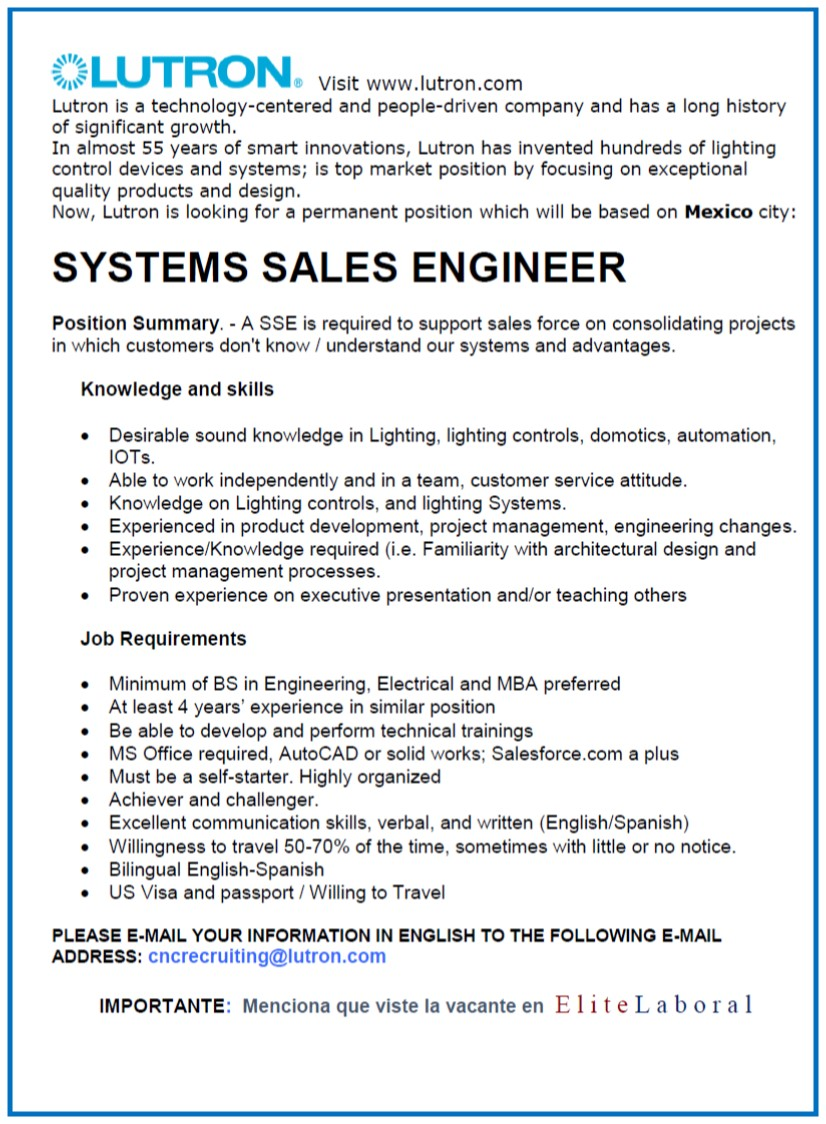 VACANTE SYSTEMS SALES ENGINEER