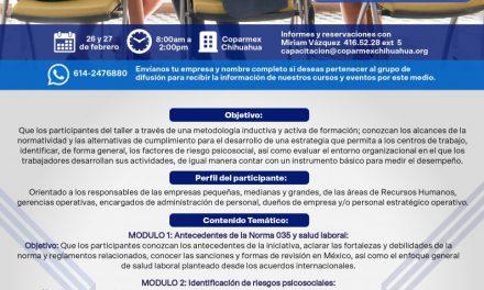 Taller: Cumplimiento con la norma 035 STPS EN EL Centro Empresarial Cuauhtémoc #1800 Col. Centro. DEL 26 AL 27 DE FEBRERO