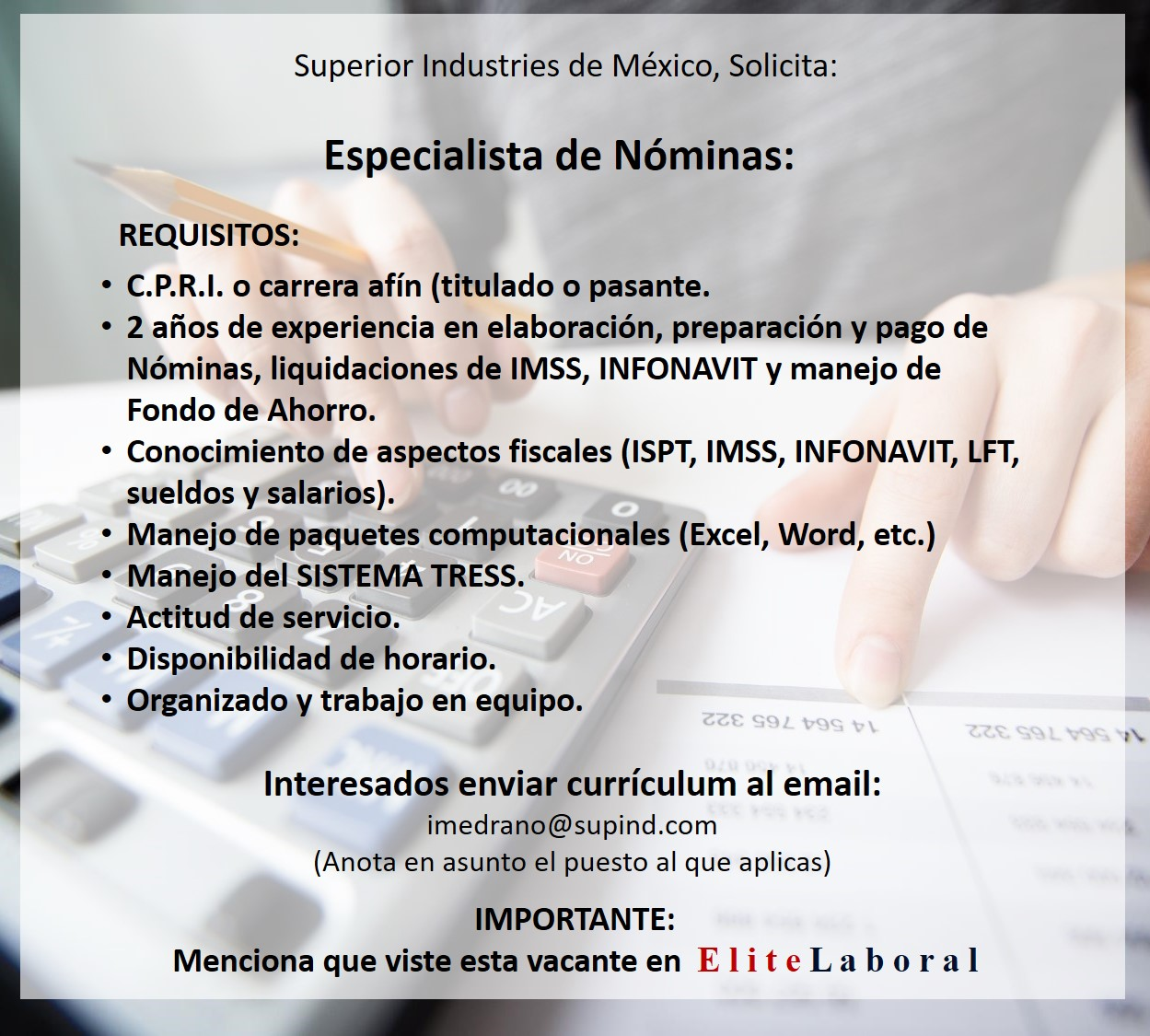 vacante Especialista de Nóminas, en Superior Industries de México