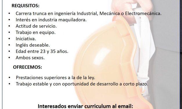 VACANTE Ing. Junior para manejo de materiales WH Logística