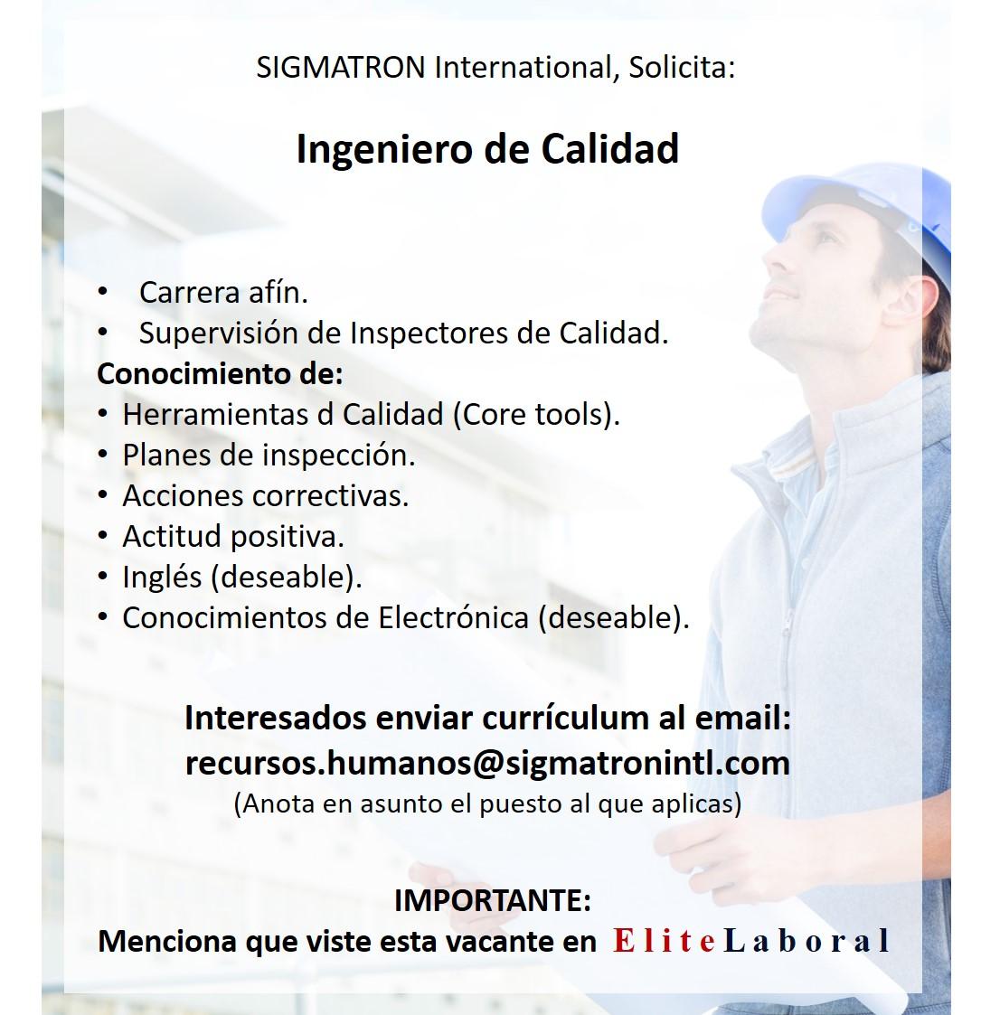 vacante Ingeniero de Calidad en SIGMATRON International