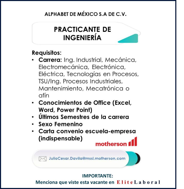 VACANTE PRACTICANTE DE INGENIERÍA EN ALPHABET DE MÉXICO