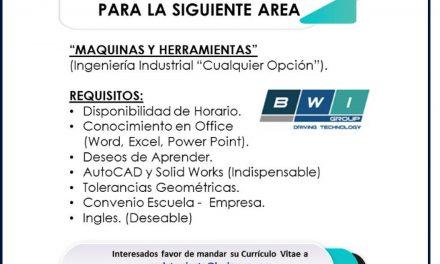 VACANTE PRACTICANTE EN ÁREA DE MAQUINAS Y HERRAMIENTAS EN VEHICLE STABILITY TECHNOLOGY S.A.