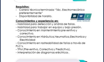 VACANTE TÉCNICOS DE MANTENIMIENTO DE LINEAS DE PRODUCCIÓN VEHICLE STABILITY TECHNOLOGY S.A.
