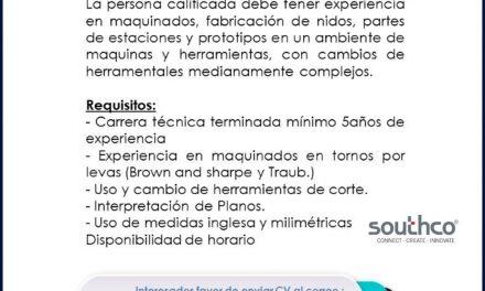 VACANTE TÉCNICO DE MAQUINAS Y HERRAMIENTAS EN SOUTHCO
