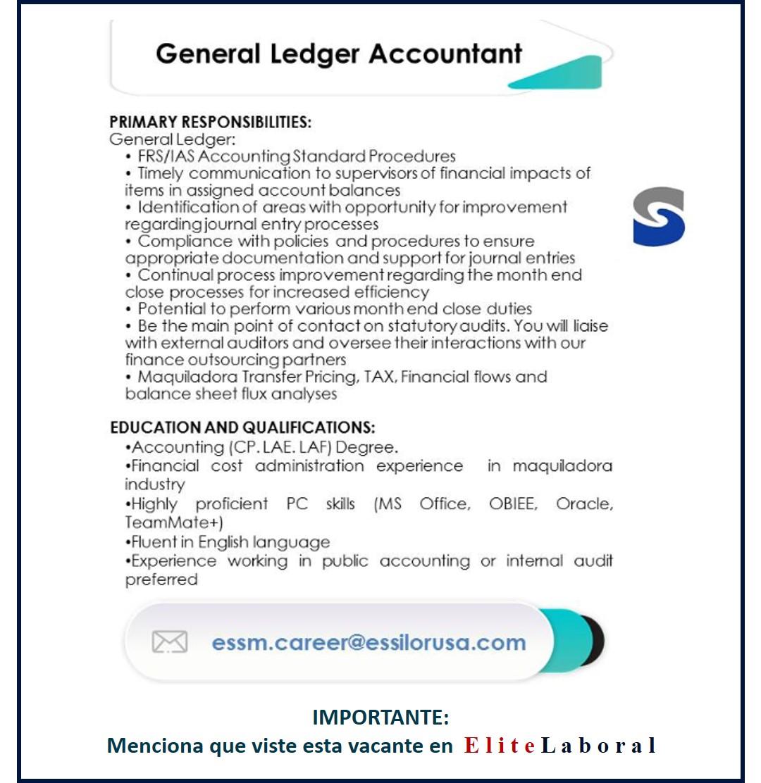 vacante general ledger accountant