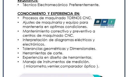 vacante TÉCNICOS especialistas en cnc