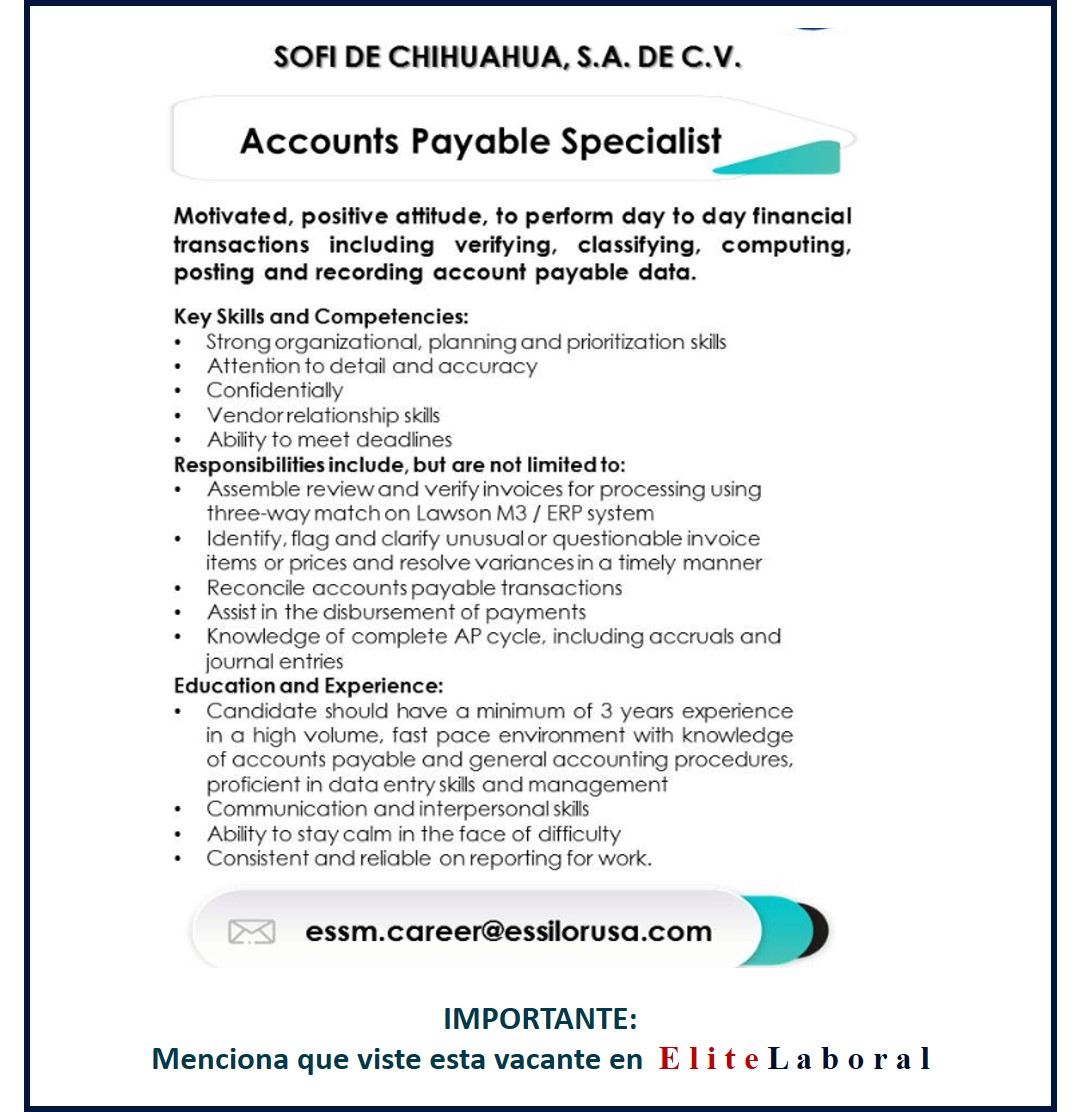 VACANTE ACCOUNTS PAYABLE SPECIALIST