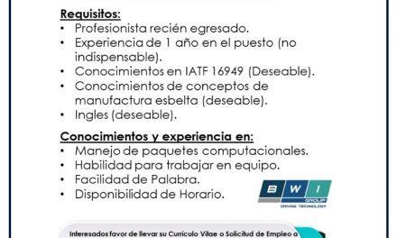 VACANTE ENTRENADOR DE MANUFACTURA