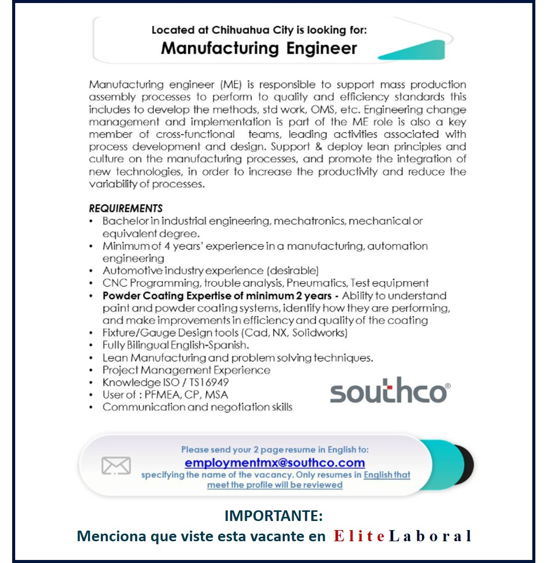 VACANTE MANUFACTURING ENGINEER