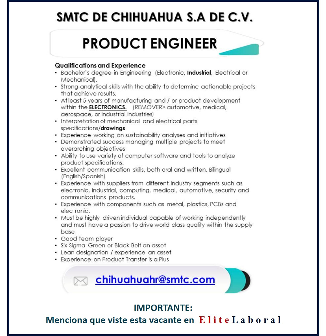 VACANTE PRODUCT ENGINEER