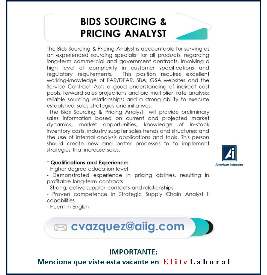 VACANTE BIDS SOURCING & pricing analyst