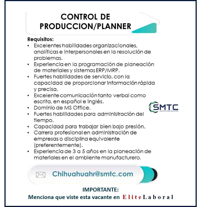 VACANTE CONTROL PRODUCCION/PLANNER