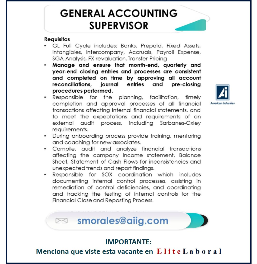 VACANTE GENERAL ACCOUNTING SUPERVISOR