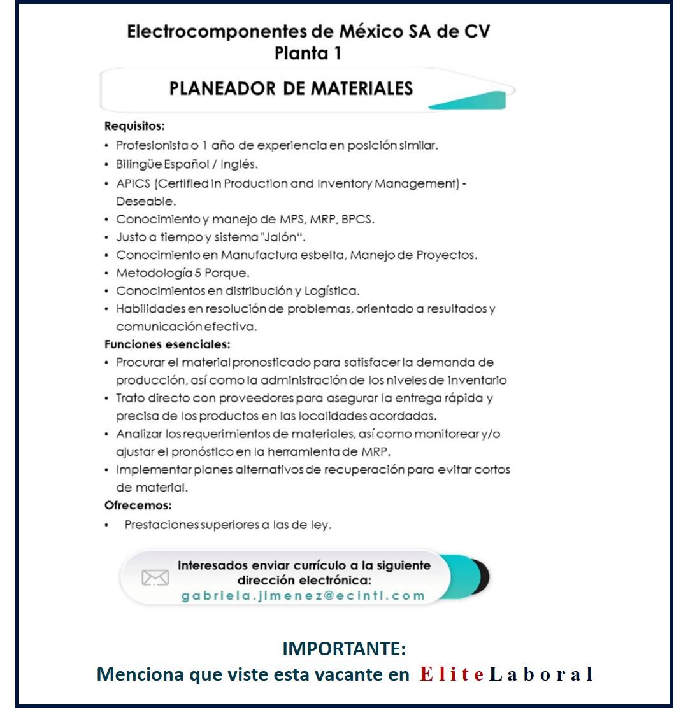 VACANTE PLANEADOR DE MATERIALES