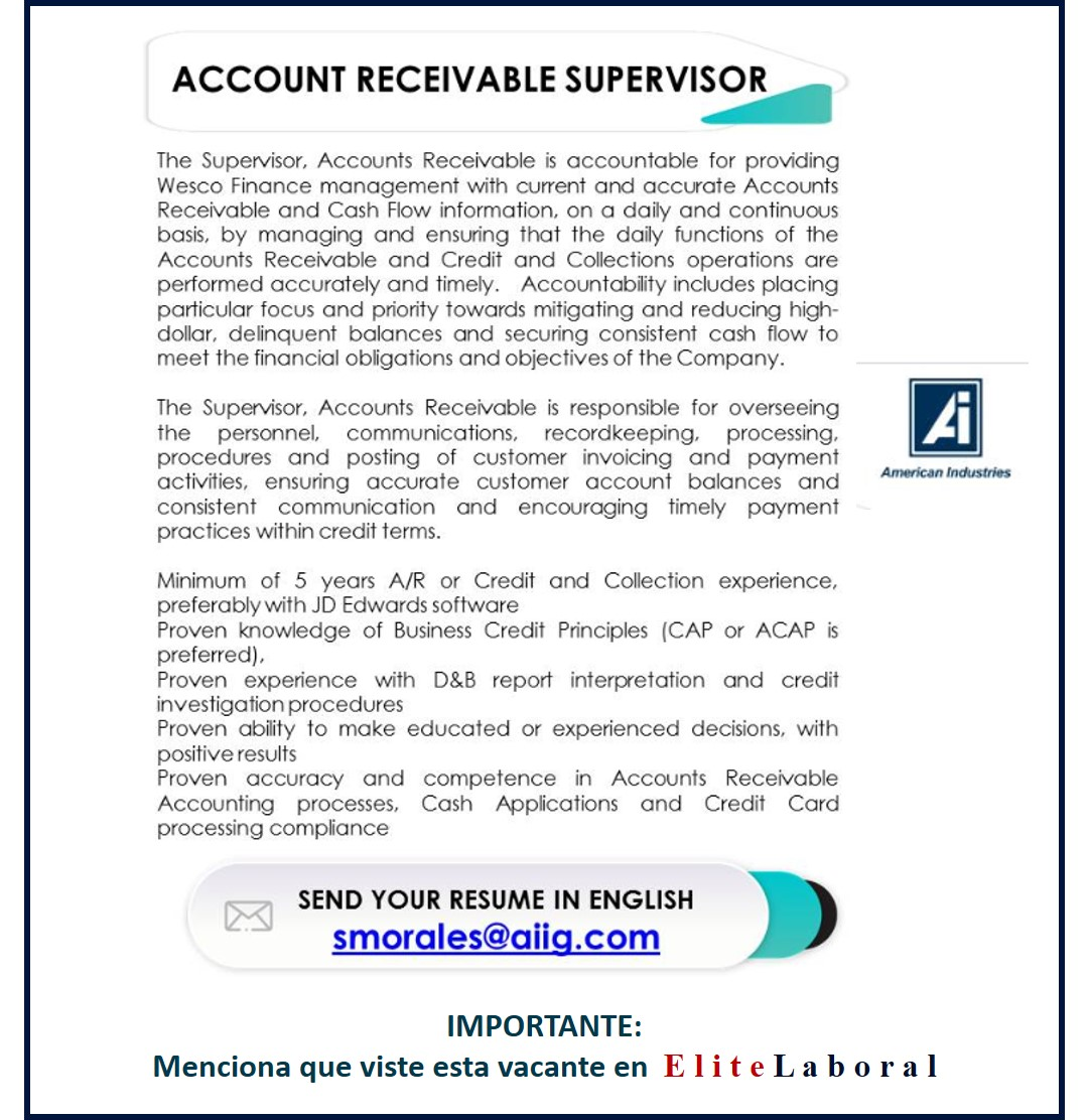 VACANTE ACCOUNT RECEIVABLE SUPERVISOR