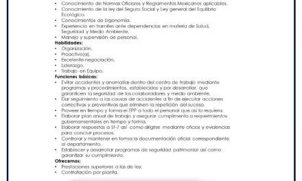 VACANTE COORDINADOR DE SEGURIDAD Y MEDIO AMBIENTE