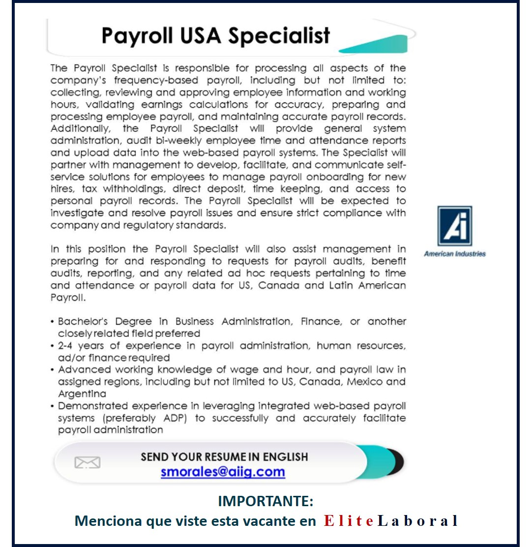 VACANTE PAYROLL USA SPECIALIST