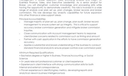 VACANTE SR ANALYST CUSTOMER MANAGMENT
