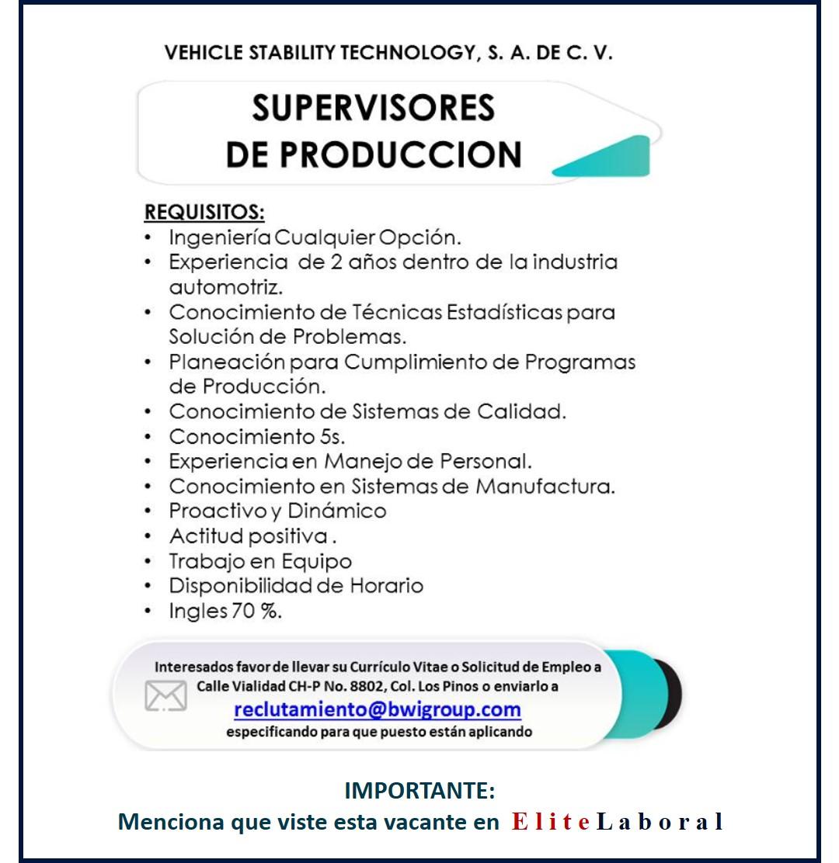 VACANTE SUPERVISORES DE PRODUCCION
