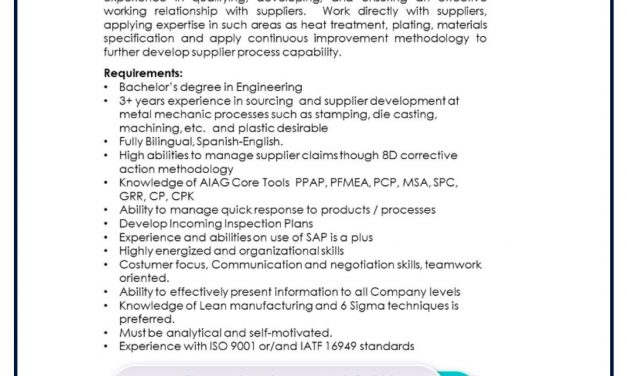 VACANTE SUPPLIER QUALITY & DEVELOPMENT ENG.