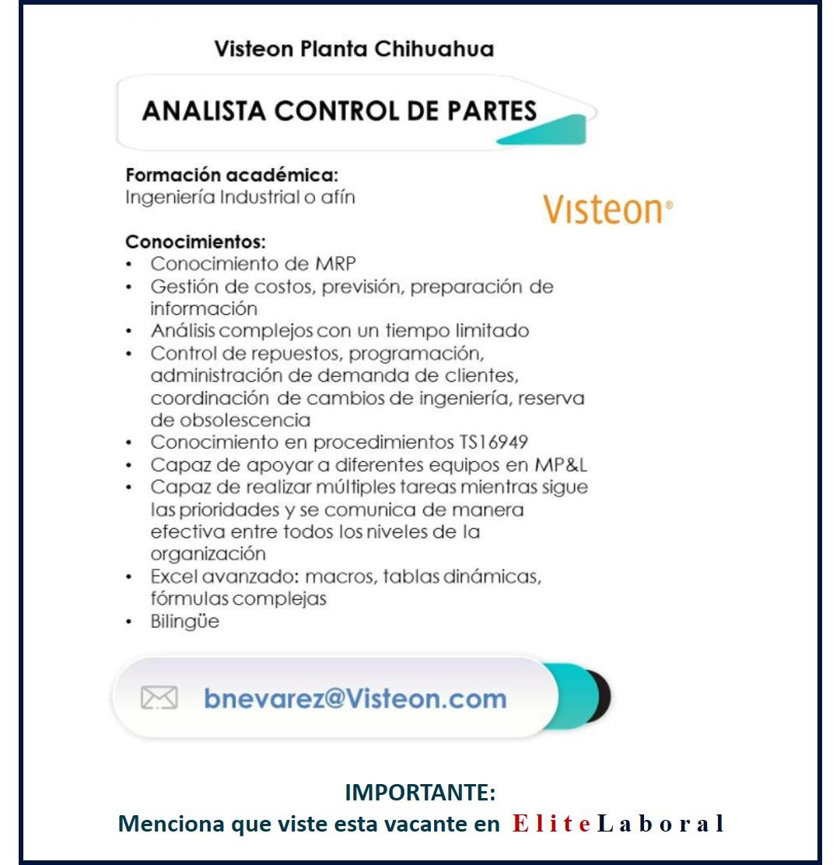 VACANTE ANALISTA CONTROL DE PARTES