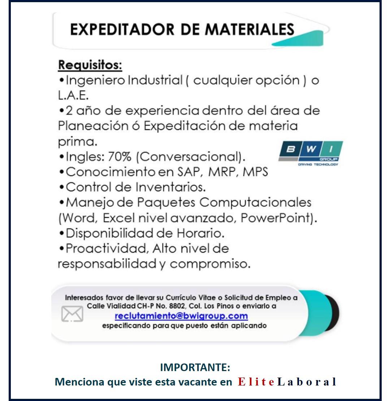 VACANTE EXPEDITADOR DE MATERIALES