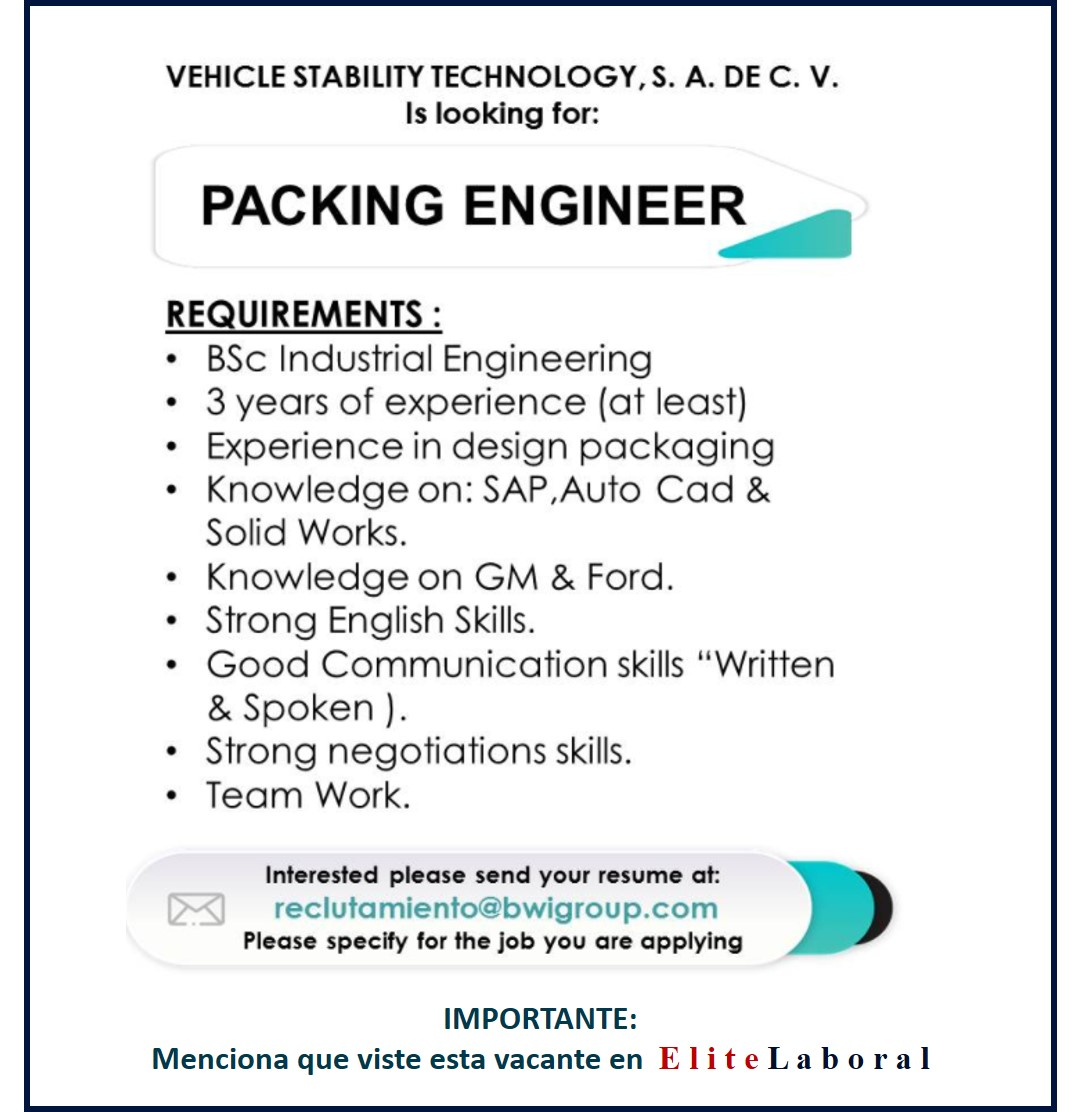 VACANTE PACKING ENGINEER