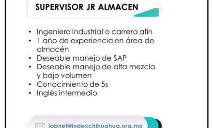VACANTE SUPERVISOR JR DE ALMACEN