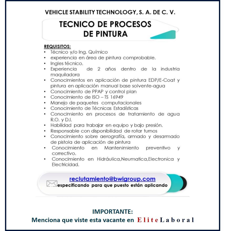 VACANTE TECNICO DE PROCESOS DE PINTURA
