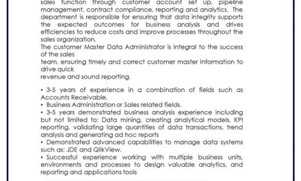 VACANTE CUSTOMER DATA ADMINISTRATOR