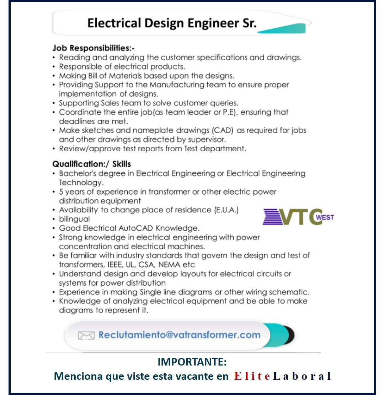 VACANTE ELECTRICAL DESIGN ENGINEER SR