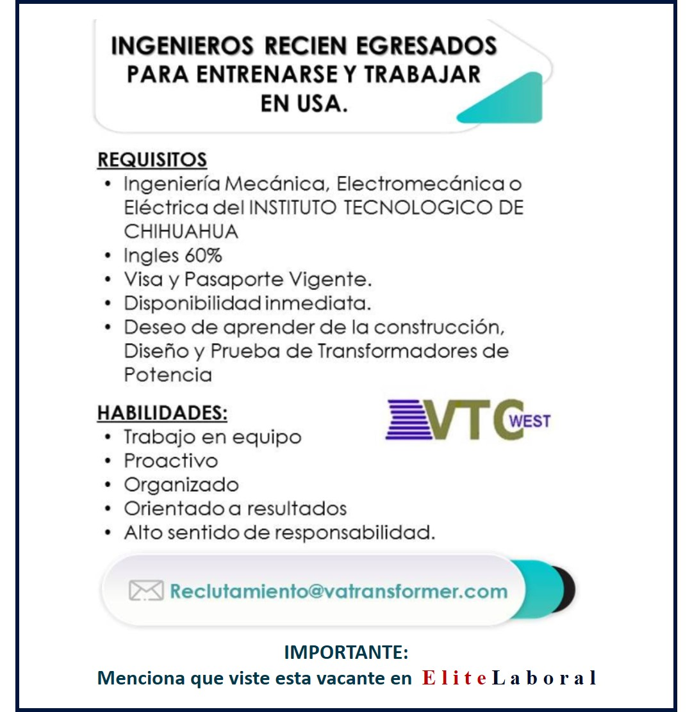VACANTE INGENIERO RECIÉN EGRESADO