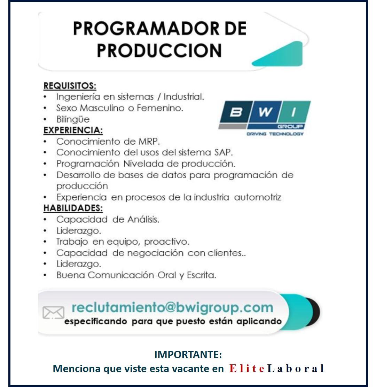 VACANTE PROGRAMADOR DE PRODUCCION