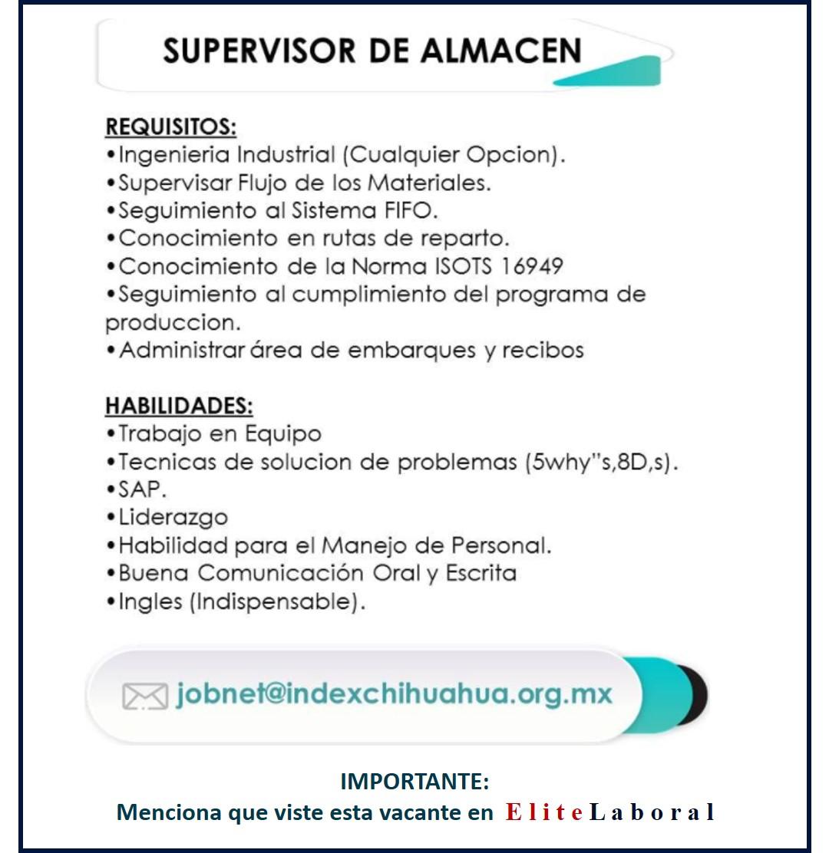 VACANTE SUPERVISOR DE ALMACÉN