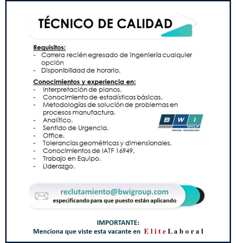 VACANTE TECNICO DE CALIDAD