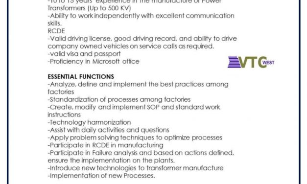 VACANTE TRANSFORMER TECHNICAL ENGINEER VACANCY IN USA