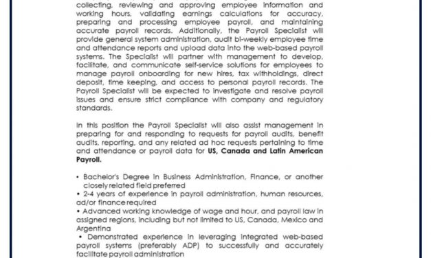 VACANTE USA PAYROLL SPECIALIST