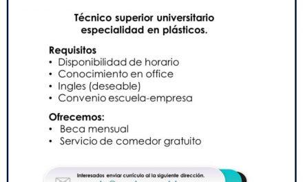 VACANTE PRACTICANTE EN PROCESOS DE PLASTICO
