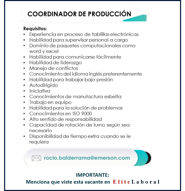 VACANTE COORDINADOR DE PRODUCCION
