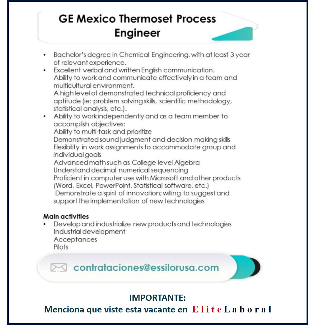 VACANTE GE MEXICO THERMOSET PROCESS ENGINEER