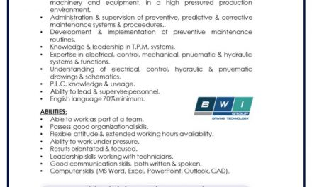 VACANTE MAINTENANCE SUPERVISOR