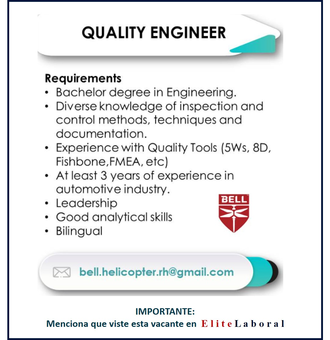 VACANTE QUALITY ENGINEER