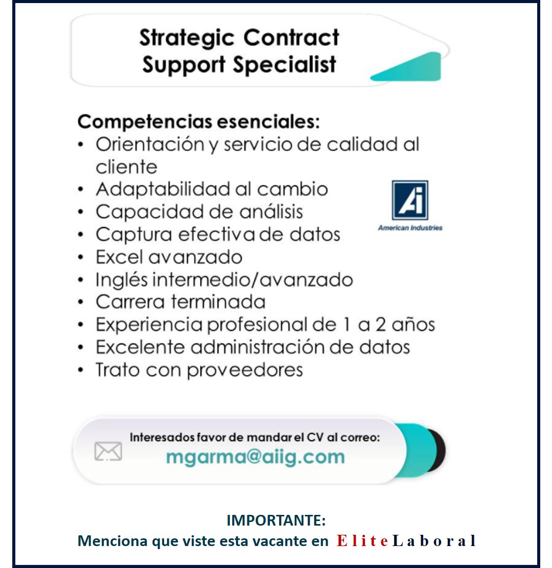 VACANTE STRATEGIC CONTRACT SUPPORT SPECIALIST
