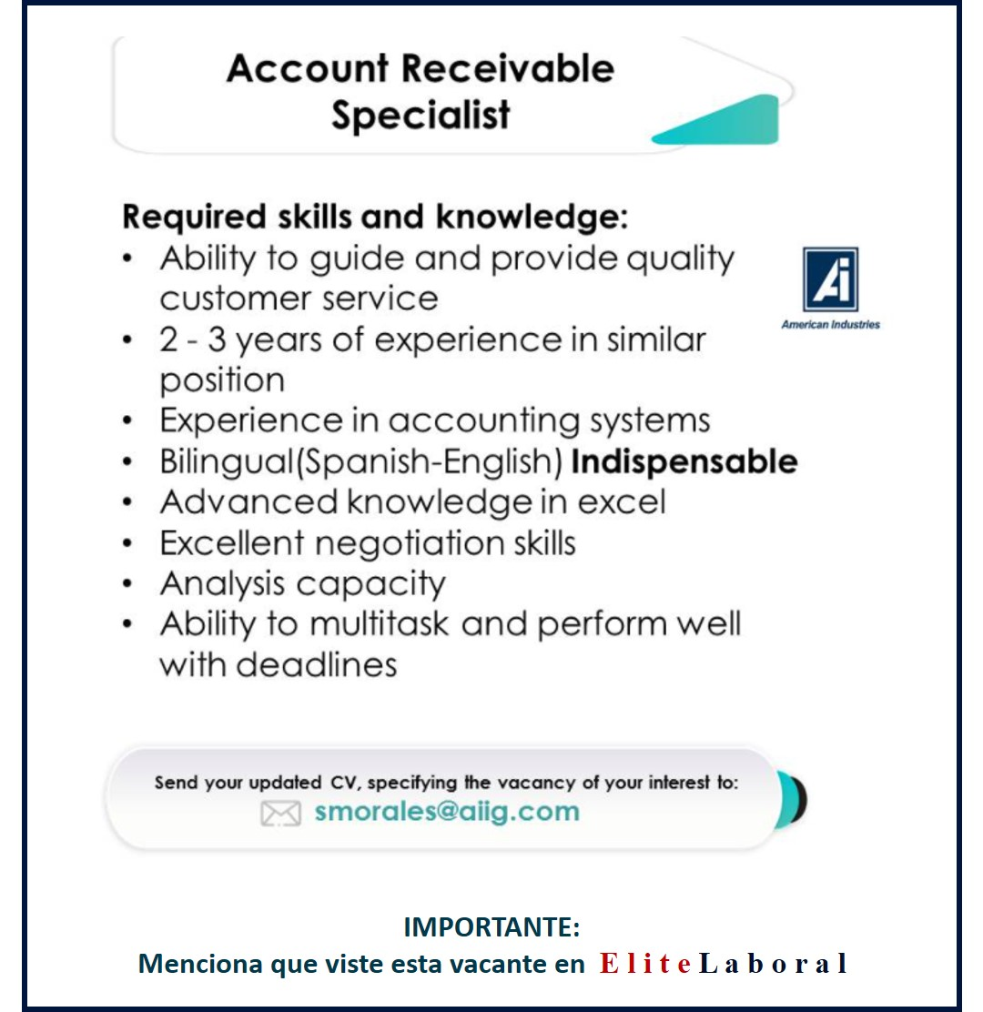 VACANTE ACCOUNT RECEIVABLE SPECIALIST