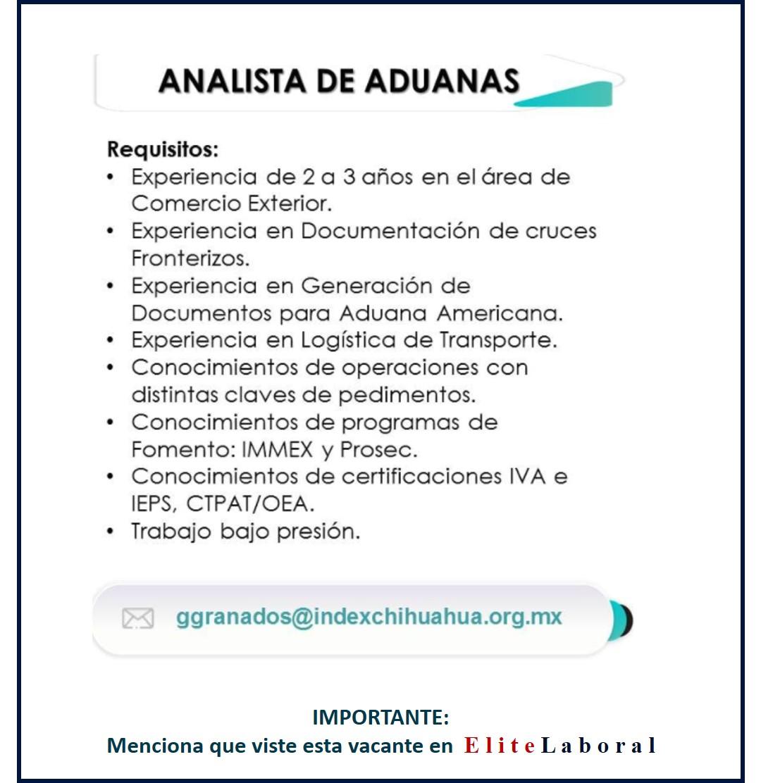 VACANTE ANALISTA DE ADUANAS