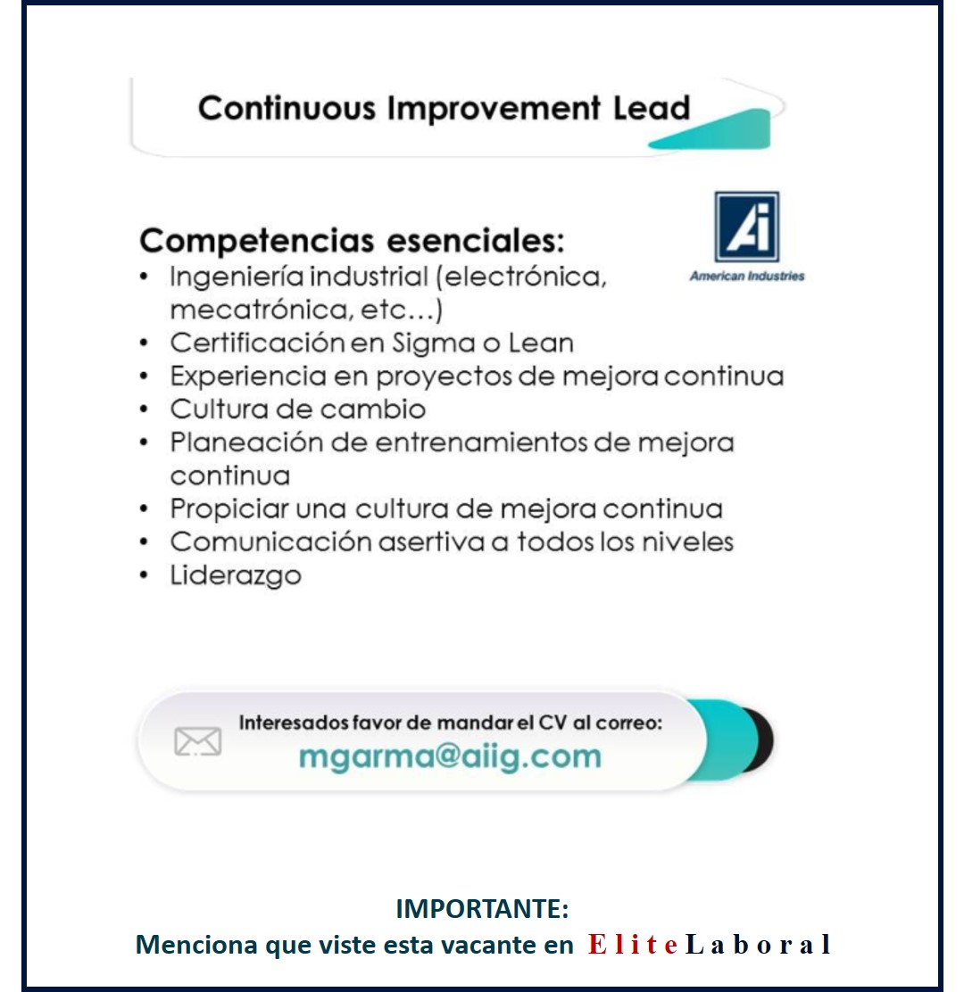 VACANTE CONTINUOUS IMPROVEMENT LEAD