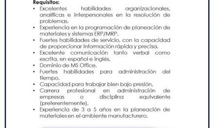 VACANTE CONTROL DE PRODUCCION/PLANNER